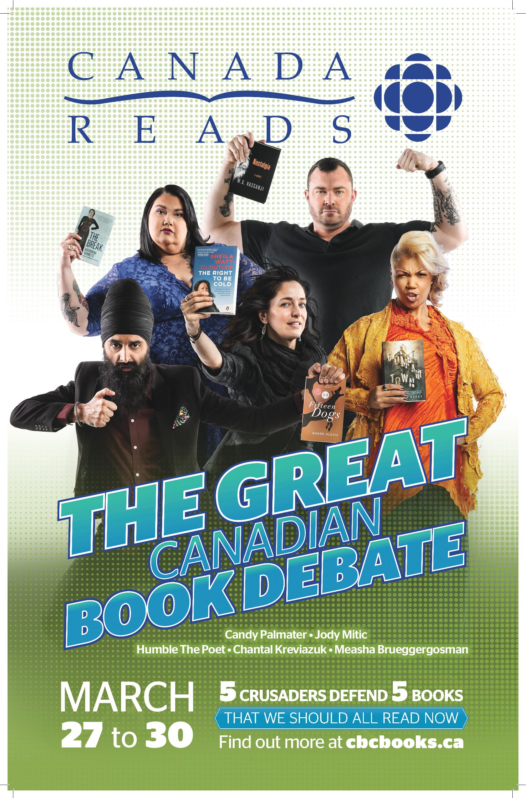 Join us at the library on March 27 through 30 at 11:00 am for the live broadcast of Canada Reads 2017 on CBC Radio
