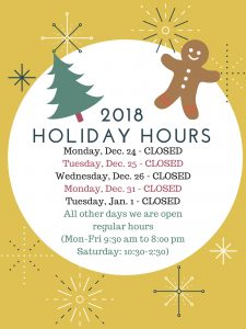 holiday hours 2018 website